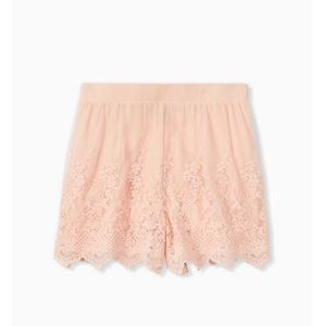 Torrid Light Pink Mesh Embroidered Short